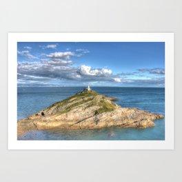 Mumbles Lighthouse Swansea Art Print