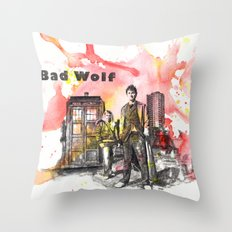 Doctor Who 10th Doctor David Tennant With Companion Rose Tyler Throw Pillow
