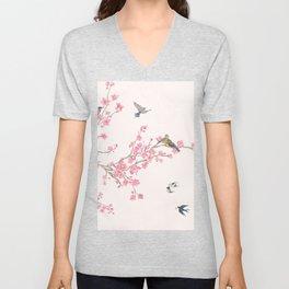Birds and cherry blossoms Unisex V-Neck