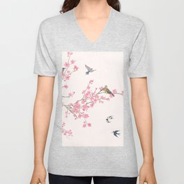 Birds and cherry blossoms Unisex V-Neck