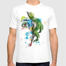floral girl MEDIUM Mens Fitted Tee White