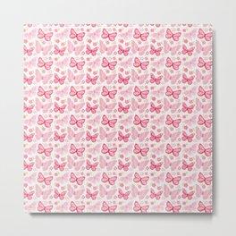 Butterfly Pink Group Of Butterflies Metal Print