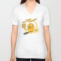 cooking V-neck T-shirts featuring Cooking Time by Perdita
