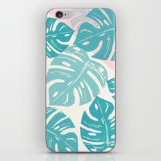 Linocut Monstera Rosy iPhone & iPod Skin