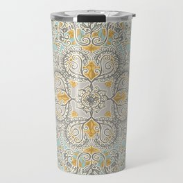 Gypsy Floral in Soft Neutrals, Grey & Yellow on Sage Travel Mug