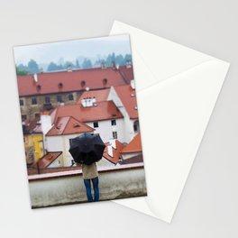 Man with Black Umbrella Stationery Cards