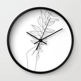 Minimal Hand Holding the Branch III Wall Clock