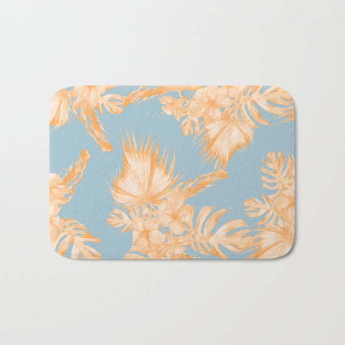 Hawaiian Hibiscus Palm Deep Orange Sky Blue Bath Mat