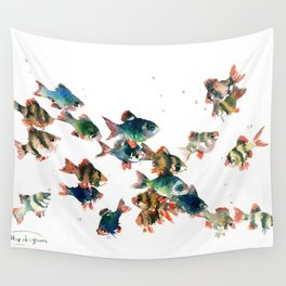 Barb Fish, Aquatic Blue Turquoise Underwater Scene Wall Tapestry