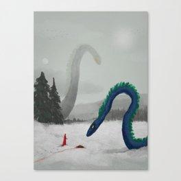 Winter Dragons Feeding Canvas Print