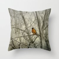 robin Throw Pillows featuring Robin by Dorothy Pinder