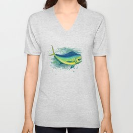 """Mahi Mahi Splash"" by Amber Marine ~ Watercolor & Ink Painting, (Copyright 2016) Unisex V-Neck"
