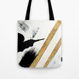 Armor [8]: a minimal abstract piece in black white and gold by Alyssa Hamilton Art Tote Bag