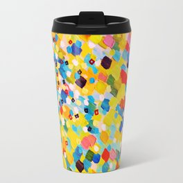 SWEPT AWAY 2 - Vibrant Colorful Rainbow Mango Yellow Waves Mermaid Splash Abstract Acrylic Painting Travel Mug