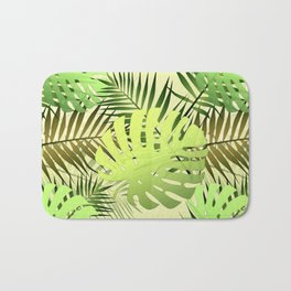 Palm leaves tropical jungle Bath Mat