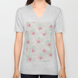 Hand painted pink teal watercolor modern floral Unisex V-Neck
