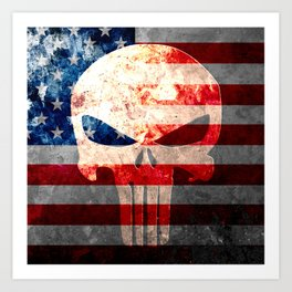 Punisher Themed Skull and American Flag on Distressed Metal Art Print