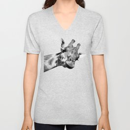Black and white giraffe Unisex V-Neck