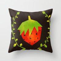 strawberry Throw Pillows featuring Strawberry by Strawberringo