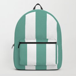 Green Sheen blue - solid color - white vertical lines pattern Backpack