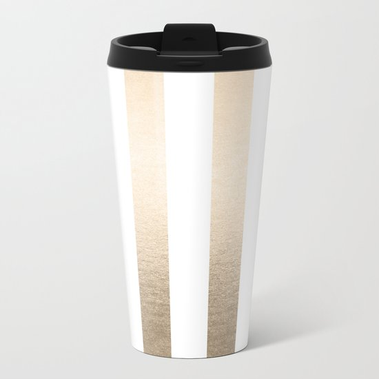 Simply Vertical Stripes in White Gold Sands Metal Travel Mug