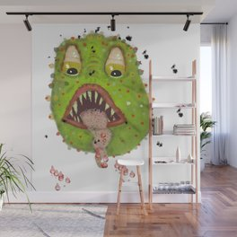 green monster with flies comic horror Wall Mural