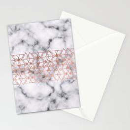 Rose Gold Marble Triangle Tribal Geometric Stationery Cards