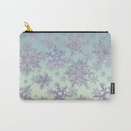 Snowflakes Embroidered on Misty Sky Carry-All Pouch