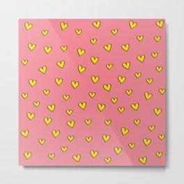 Cute Pink Heart Pattern Metal Print