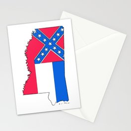 Mississippi Map with Mississippi Flag Stationery Cards