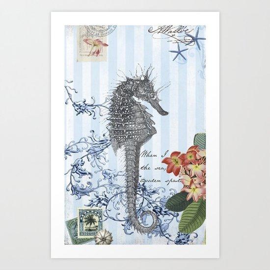 Seahorse in Blue Art Print
