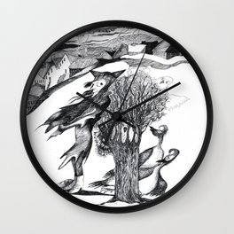 Lady Cape and Birds Wall Clock