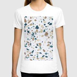 TERRAZZO ABSTRACT BLUE YELLOW ORANGE T-shirt