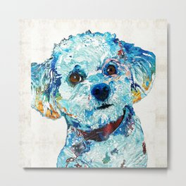 Small Cute Dog Art - Who Me? - Sharon Cummings Metal Print