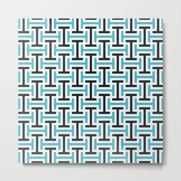 Geometric Pattern 212 (teal black) Metal Print