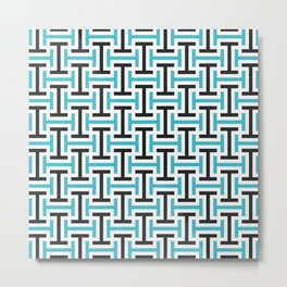 Geometric Pattern 212 (teal black) Metal Print