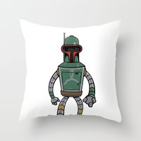 bender Throw Pillows featuring Bender Fett by Andy Whittingham