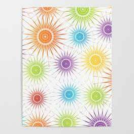 Colorful Christmas snowflakes pattern- holiday season gifts Poster