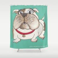 bulldog Shower Curtains featuring Bulldog by Sally Darby Illustration