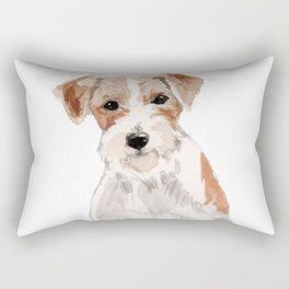 Wired-Haired Jack Russel Terrier watercolors illustration Rectangular Pillow