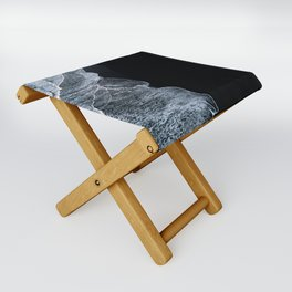 Waves on a black sand beach in iceland - minimalist Landscape Photography Folding Stool