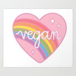 Vegan Rainbow Heart Art Print