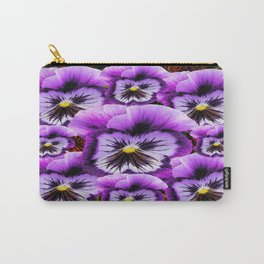 Lilac-Purple Decorative Pansies Pattern Art Carry-All Pouch