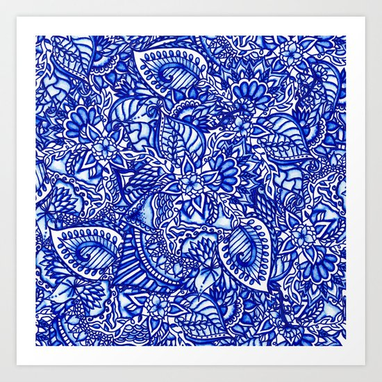 Modern blue handdrawn watercolor floral mandala Art Print
