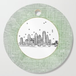 Philadelphia, Pennsylvania City Skyline Illustration Drawing Cutting Board