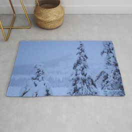 Snow Laden Evergreen Trees Rug