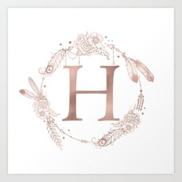 Letter H Rose Gold Pink Initial Monogram Art Print