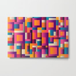 Abstract Background Geometry Blocks Squares Metal Print