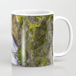 Pictures Washington USA Granite Falls Spokane HDRI Rock Nature Waterfalls Trees HDR Crag Cliff Coffee Mug