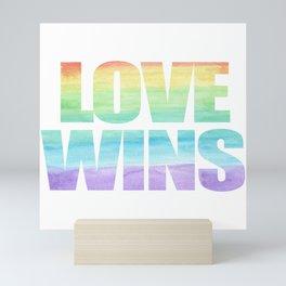 Love Wins Gay Lesbian Rainbow CSD Gift Mini Art Print